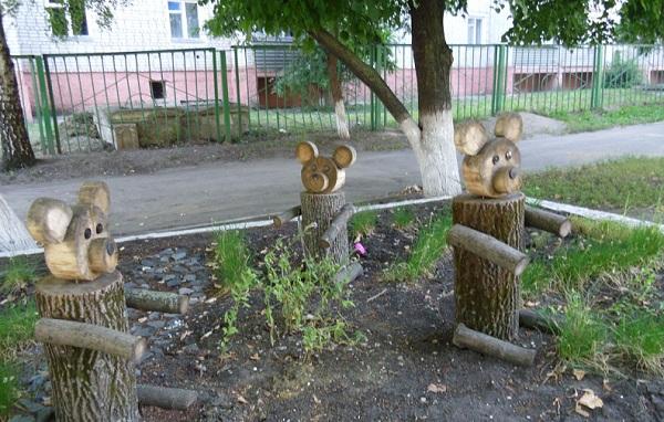 Поделки на участке в детском саду своими руками из дерева фото