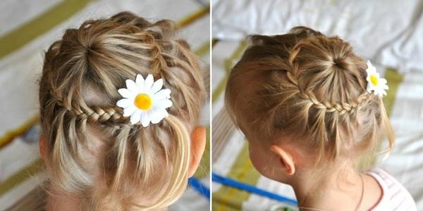 Прическа девочки из длинных волос из косичек