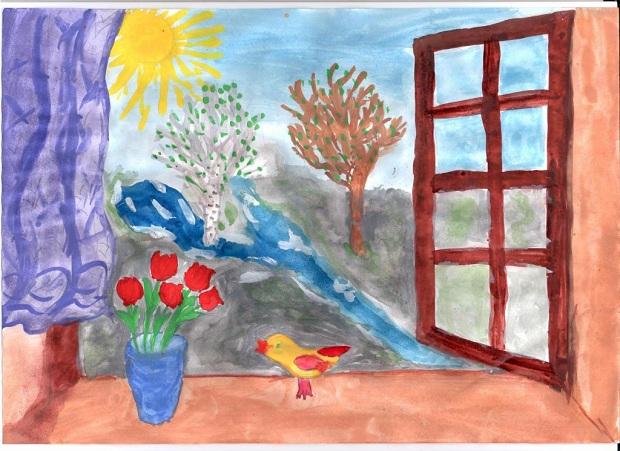 детские весенние рисунки: